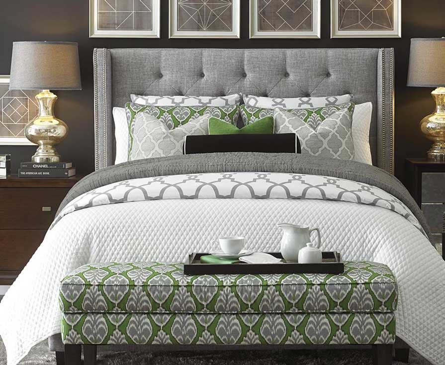 Beautiful bedroom with decorated bed